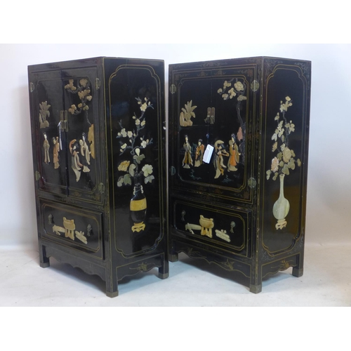 546 - Withdrawn A pair of 20th century Chinese black lacquered cabinets, with hard stone decoration, H.113...