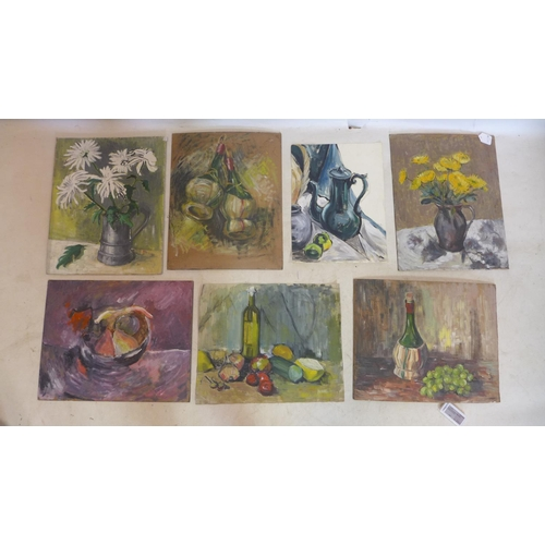711 - Muriel Slocombe (20th century British), a collection of 7 paintings depicting still life studies of ...
