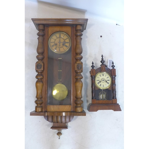 534 - A 19th century mahogany Vienna regulator wall clock together with one other clock...