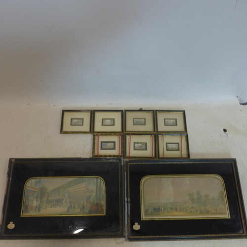 500 - Two colour prints of The Great Exhibition by George Baxter, in black and gilt frames, 15 x 32cm, tog...