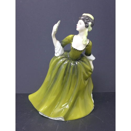 502 - A Royal Doulton porcelain figurine of a dancing lady in green dress entitled, 'Simone', 1970, 18 x 1...