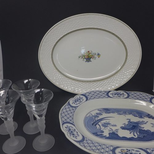 503 - Two large oval serving plates and 4 liqueur glasses with frosted glass bobble stems H: 13cm each...
