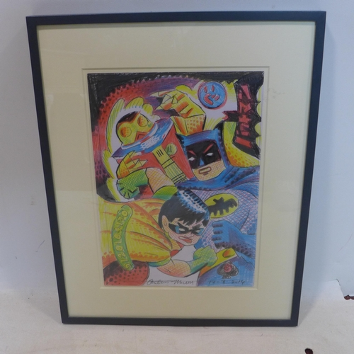 518 - Andrew Mockett, 'Batman & Robin', painting on paper, signed and dated 12/8/14, 43 x 29cm...