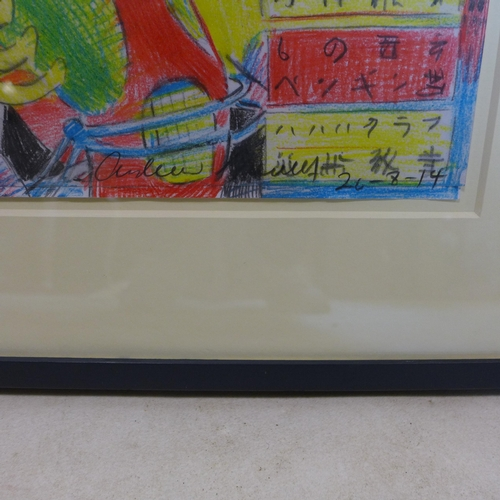 519 - Andrew Mockett, 'Batman, Robin and Superman', painting on paper, signed and dated 26/8/14, 43 x 29cm...