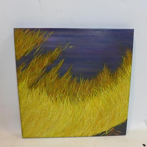 527 - Yvonne Mills-Stanley, 'Grass Travels I', oil on linen, 61 x 61cm...