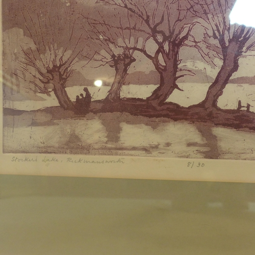 697 - Margaret Rowney, 'stokes lake', limited edition lithograph, signed and numbered 8/30 in pencil, with...