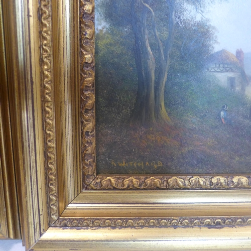 709 - A pair of gilt-framed oil on boards each depicting a female figure within a landscape, signed R. Wit...