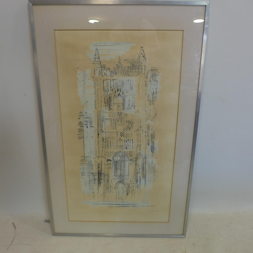 868 - In the manner of John Piper, A Cathedral, lithograph, bearing signature in pencil to lower right, fr...