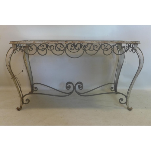 14 - A vintage French wrought iron coffee table with mirrored top, H.53 W.98 D.56cm