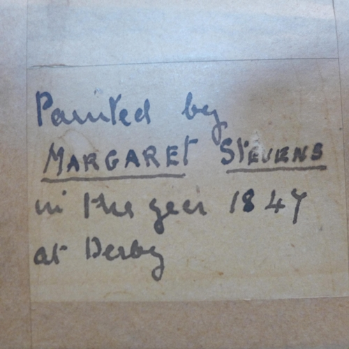 124 - Margaret Stevens, decoupage of flowers, label to verso 'Painted by Margaret Stevens in the year 1847...