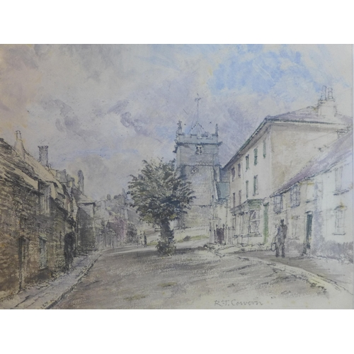 126 - 20th century British school, View of a high street of a British town, gouache and pencil study, sign...