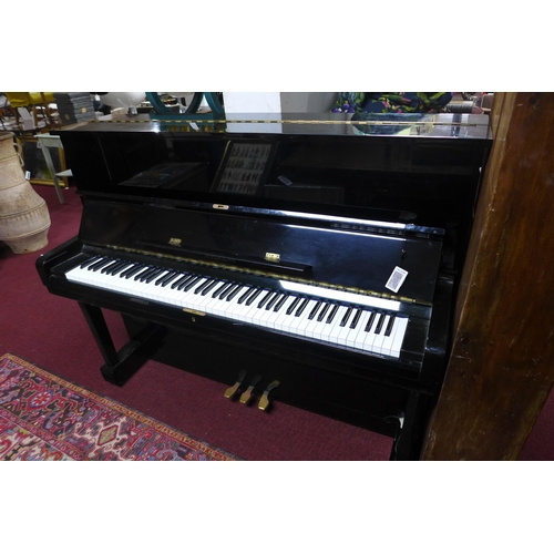 152 - A Hyundai Tropicalised upright piano, IL00393, H.121 W.150 D.61cm, together with piano stool...