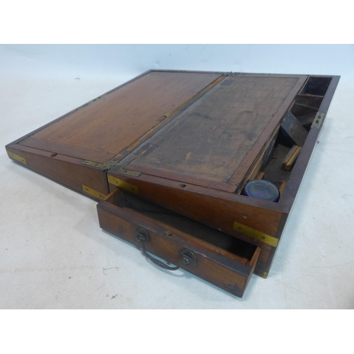 324 - A 19th century mahogany and brass bound writing slope 15 x 50 x 25cm and a 19th century mahogany and...