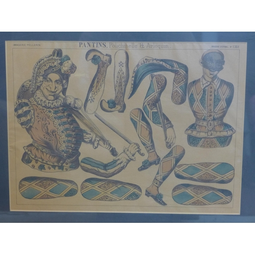 325 - A framed and glazed, French, early 20th century coloured print of harlequin jesters entitled, 'Panti...