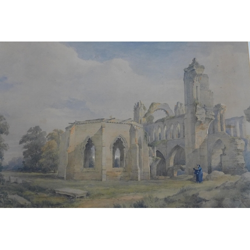 337 - George Simson RSA (1791-1862), Elgin Chapterhouse, watercolour, stamped G Simson, Edinburgh, 32 x 46...