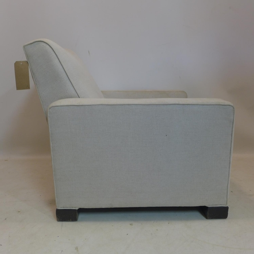 1 - A pair of 20th century armchairs with stone linen upholstery...