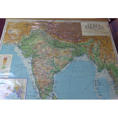 7 - Two vintage wall maps by George Philip & Son Ltd., to include Philips' Comparative Map of India, Pak...