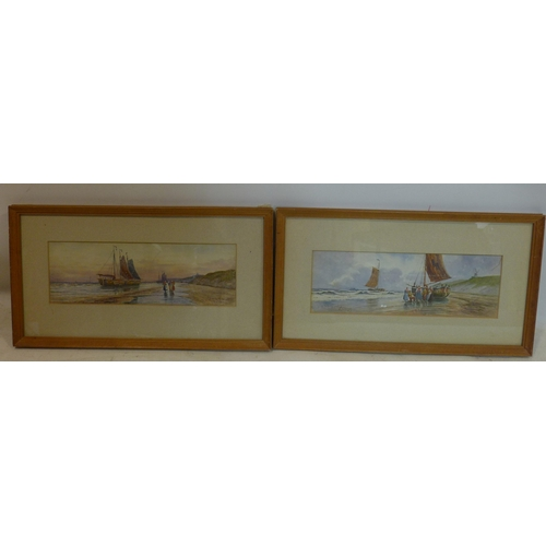 13 - R. W. Vernon, 'On the Dutch coast' and 'Evening in Holland', 2 watercolours, signed, 12 x 35cm...