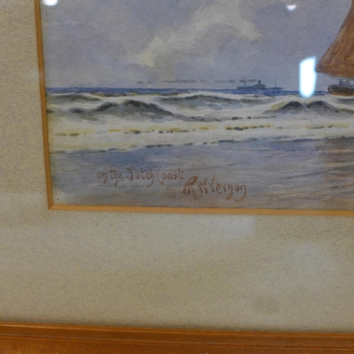 13 - R. W. Vernon, 'On the Dutch coast' and 'Evening in Holland', 2 watercolours, signed, 12 x 35cm