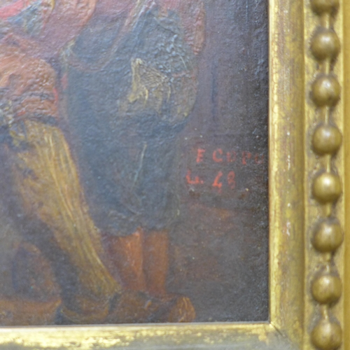 15 - A small oil on board of a man playing the drum to a  boy, signed, in gilt frame, 17 x 14cm...