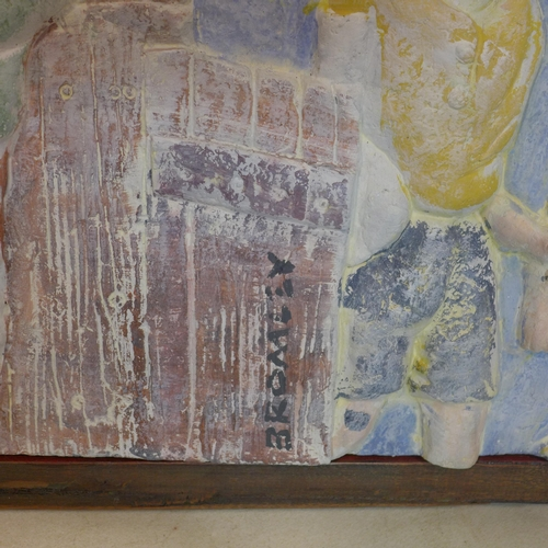 17 - A contemporary plaster frieze moulded with children looking over a wall, signed Bromley, 34 x 124cm,...