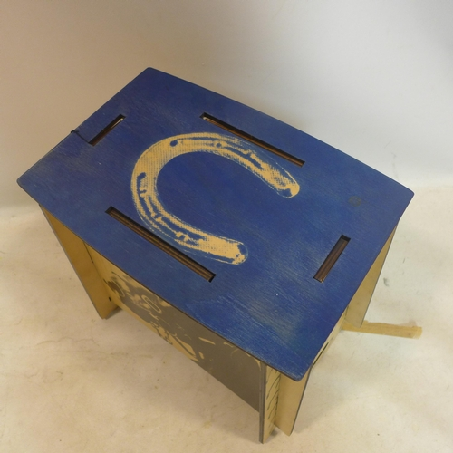 36 - Angus McDonald, a limited edition stool with horse design, signed and dated 2008 and numbered 10/100...