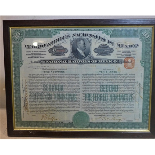 38 - A collection of four framed Bonds, to include National Railways of Mexico, 25 x 33cm; Goode Durrant ...