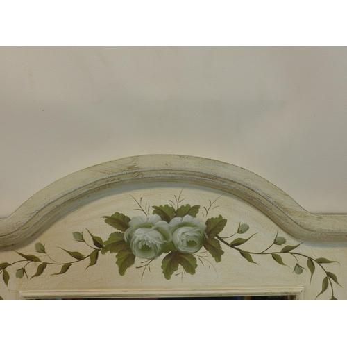 45 - A tall narrow white painted mirror, 135 x 61cm...