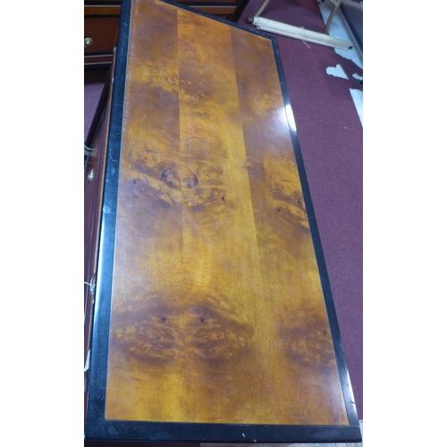 49 - A Biedermeier style part ebonized walnut chest of drawer, with label for 'Century', H.83 W.106 D.46c...