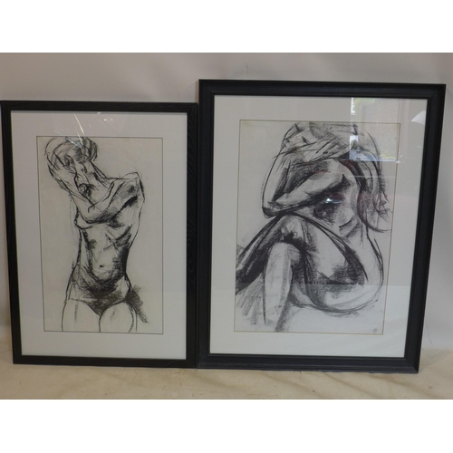 50 - Two large Carol Peace prints of nude sketches...