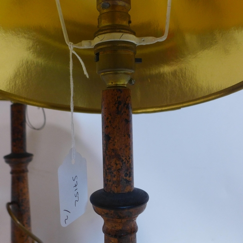 51 - A pair of burr walnut effect table lamps with shades, H.39cm...