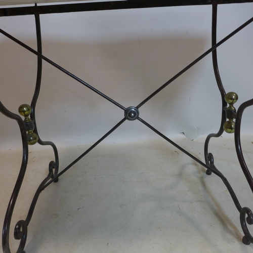 55 - A vintage wrought iron console table with marble top, H.75 W.95 D.47cm...