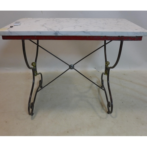 56 - A vintage wrought iron console table with marble top, H.75 W.95 D.47cm...