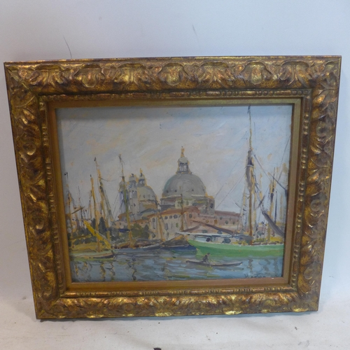 66 - A 20th century oil on board of boats and a cathedral, signed 'Horton', set in gilt wood frame, 37 x ...