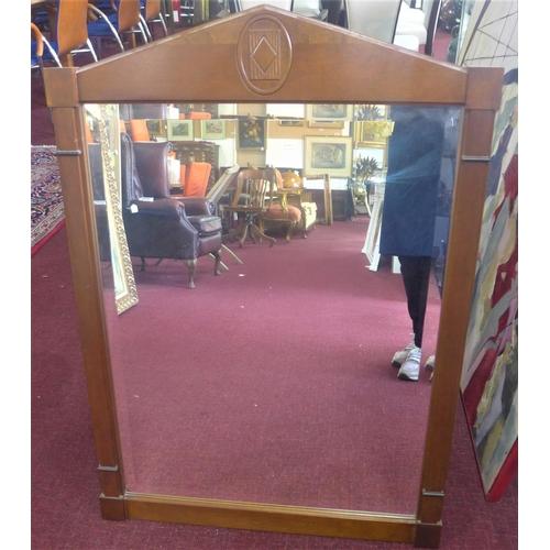 71 - A Biedermeier style walnut mirror, 100 x 70cm