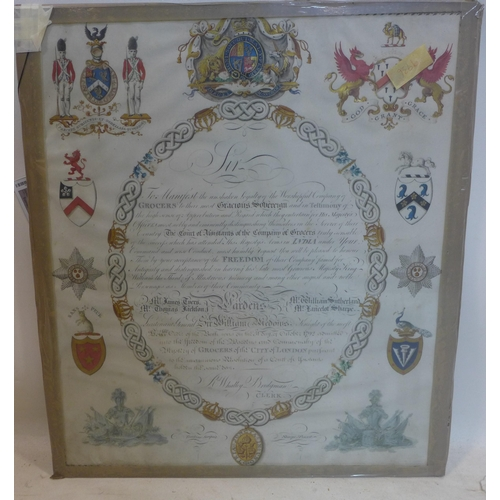 173 - A late 18th/early 19th century Grocers Royal Warrant of Appointment, hand painted with armorial cres...