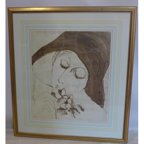 222 - A large Barbara A. Wood print of a lady wearing a hat, signed in pencil lower right, 72 x 63cm...