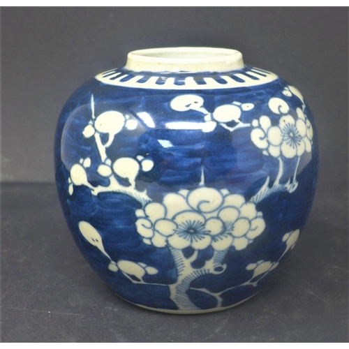227 - A 19th century Chinese blue and white ginger jar, decorated with prunus, bearing double blue circle ...