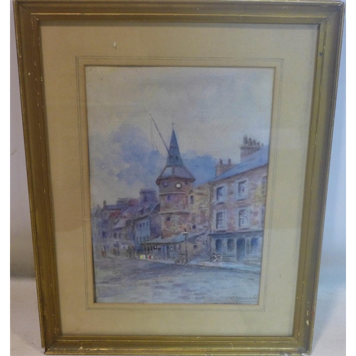 237 - C. C. Marrable, Continental street scene, watercolour, signed lower right, in glazed gilt frame, 34 ...