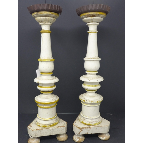 278 - A pair of painted turned pine pricket sticks, H.42cm...