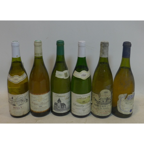 284 - A mixed collection of 6 bottles of wine, to include 1988 Clos Reissier Pouilly-Fuisse; 1995 Mercurey...
