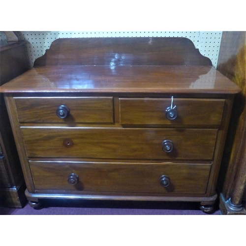 531 - A 19th century mahogany chest of drawers, with gallery top, raised on turned feet, H.93 W.114 D.51cm...