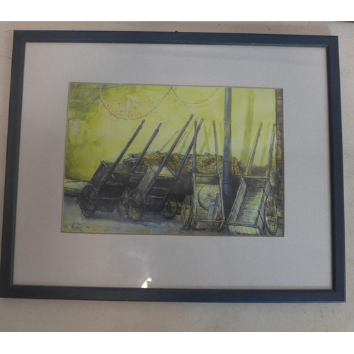 517 - A framed Vietnamese print of wheel barrows on a street, signed Heady and dated 98 to the block, 24 x...