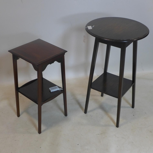 525 - An oak two tier lamp table, with circular top raised on splayed legs, H.71cm Diameter 43cm, together...