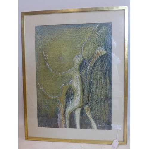 536 - Ivo Steens (20th century school), Three Nude Figures, mixed media study, signed lower right, framed ...