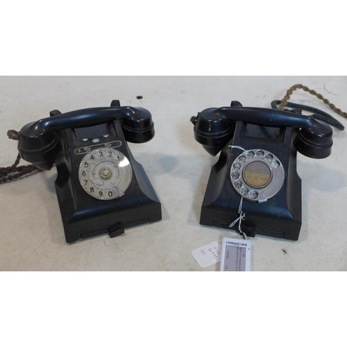 508 - Two vintage Bakelite telephones...