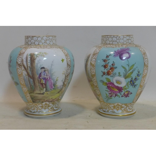 513 - A pair of 19th century Dresden porcelain vases, hand painted with romantic scenes and floral panels,...