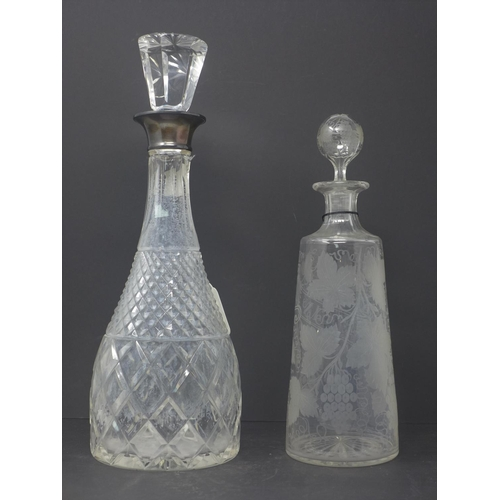 526 - A late 19th/early 20th century crystal decanter with silver collar together with a Victorian glass d...