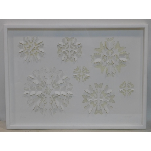 546 - Maria Clemen, 'Snow', white cut out picture, signed and dated 2006 in pencil, 53 x 73cm...