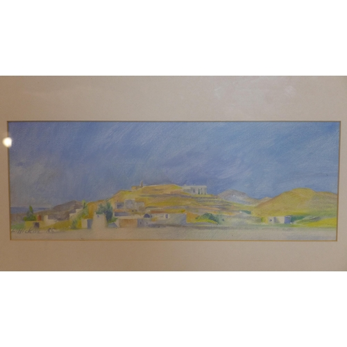 160 - L. Hicko, A landscape scene of Paros, Greece, gouache, signed and dated '85, framed and glazed, 12 x...